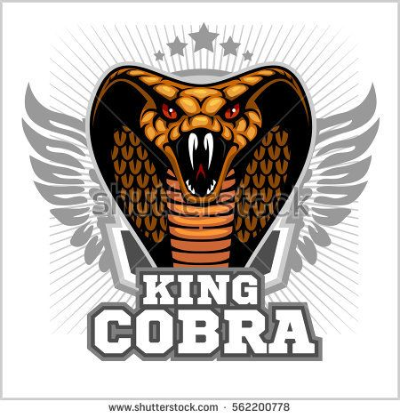 King Cobra And Wings Mascot Template Design Vector Illustration