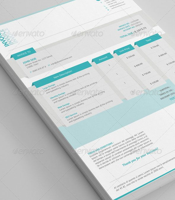 20 Creative Invoice U0026 Proposal Template Designs  Free Invoice Design