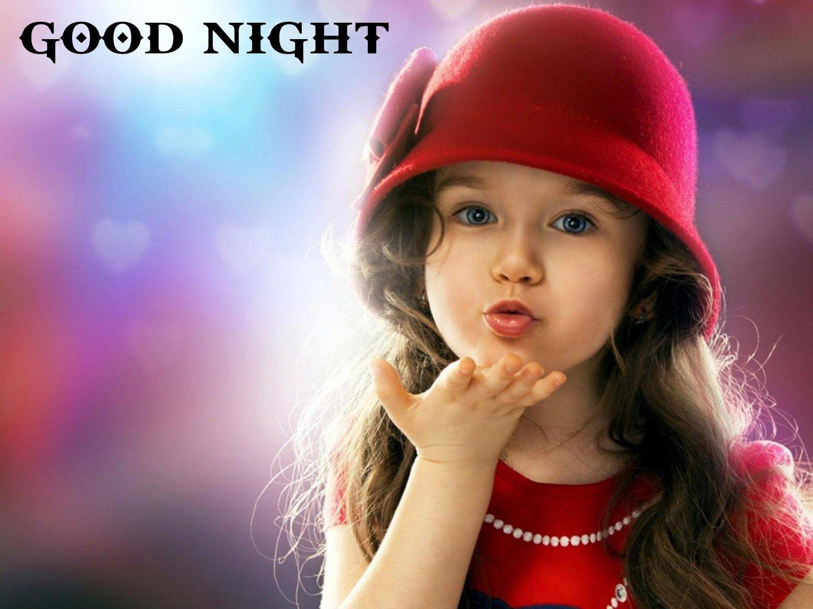 Beautiful Little Girl Giving You Good Night Flying Kiss -1598