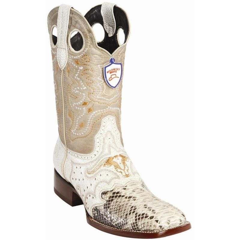 84212d4a38a Men s Wild West Python Wide Square Toe Boots With Saddle Handcrafted ...