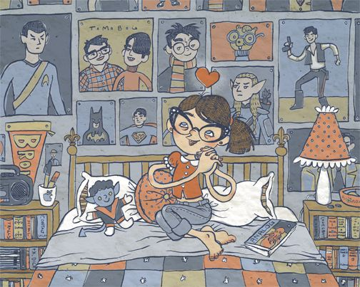 heyoscarwilde:    Happy Geeky Girl  illustration by Alicia Policia :: via aliciapolicia.blogspot.com    This is me!