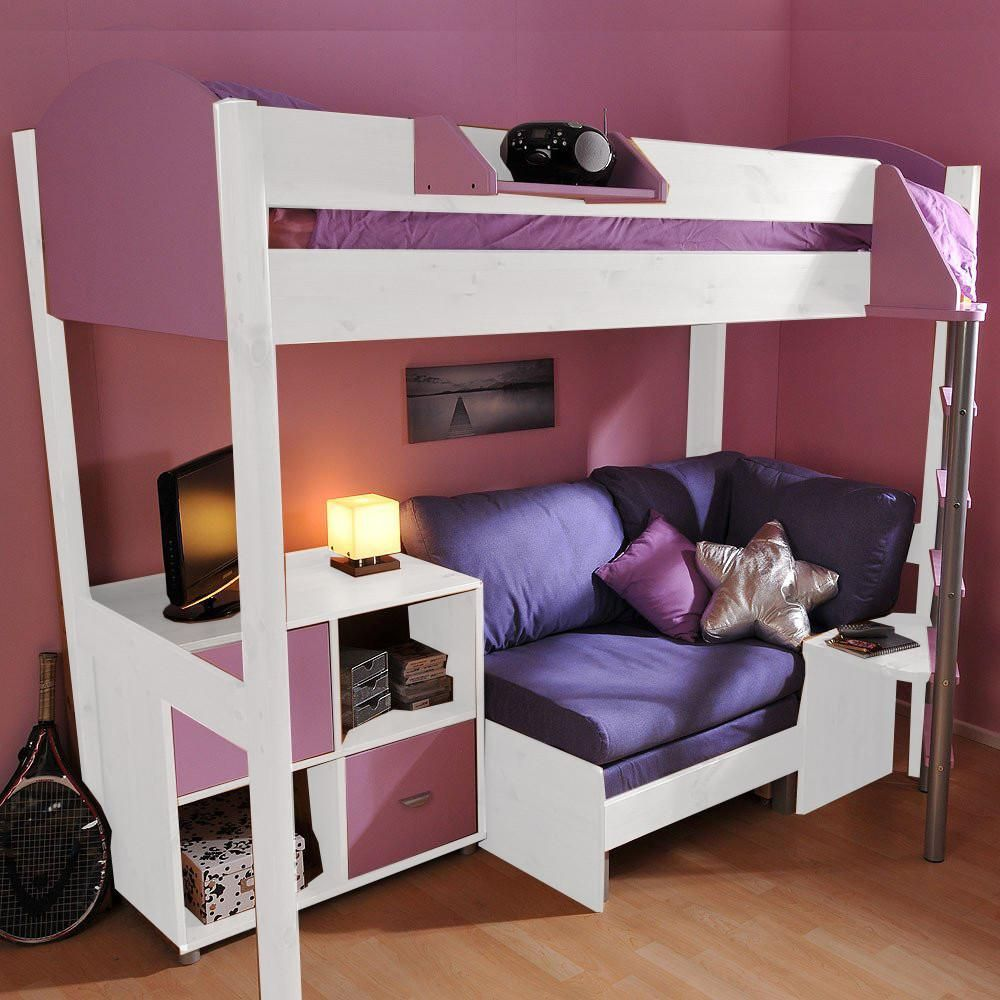 Miraculous Stompa Casa 8 White High Sleeper With Sofa Bed Storage Camellatalisay Diy Chair Ideas Camellatalisaycom
