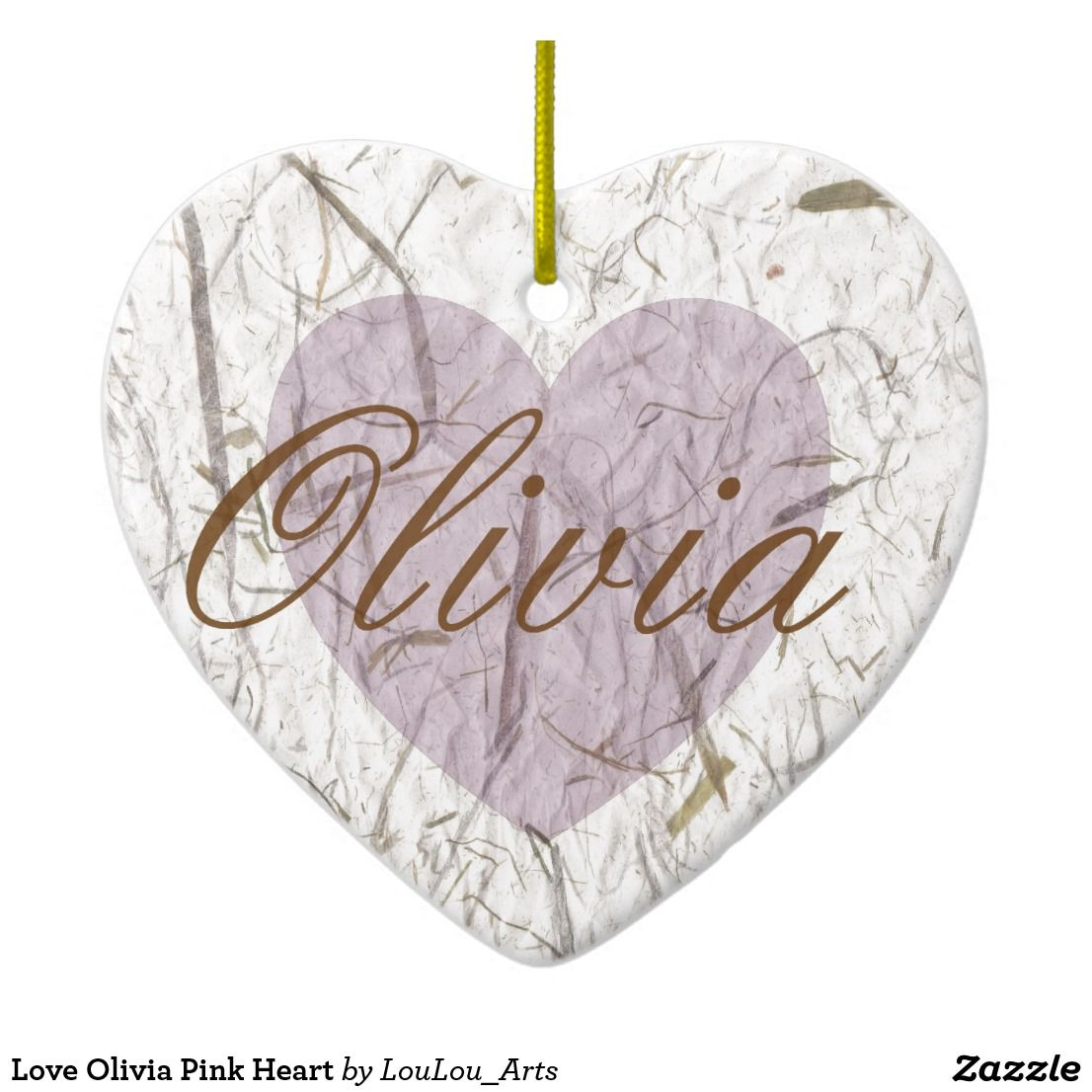 Love Olivia Pink Heart Christmas Ornament | Zazzle.co.uk ...