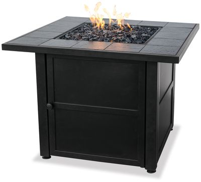 Fire Pit Table Shop | Uniflame LP Gas Outdoor Firebowl with Slate Tile Mantel | 30,000 BTU's | Black Fire Glass