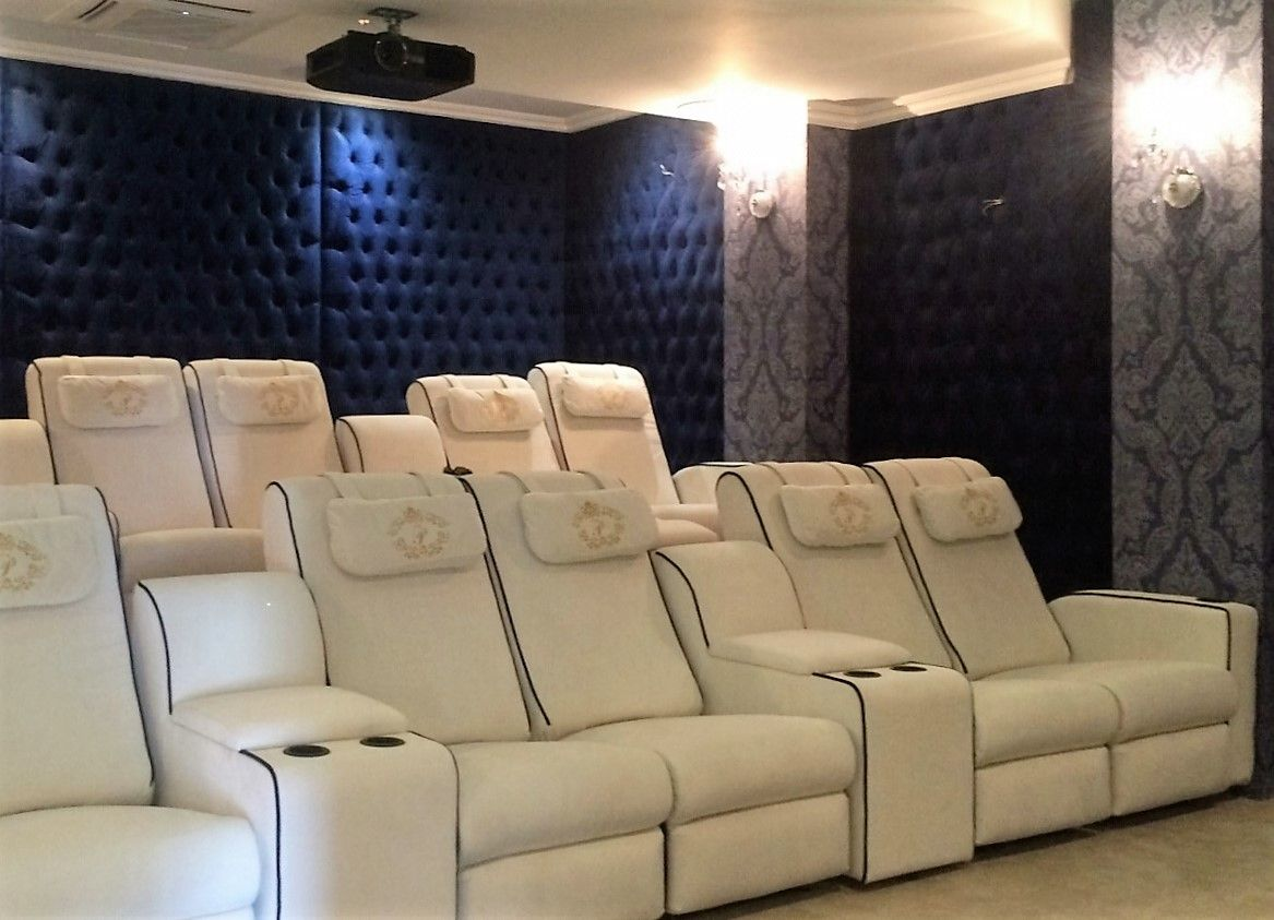 Home Theatre With Royal Blue Velvet Wall Panels Damask Navy Crystal Embellished Wallpaper On Pillars Reclining Chairs In Cream Wi Home Home Theater Blue House