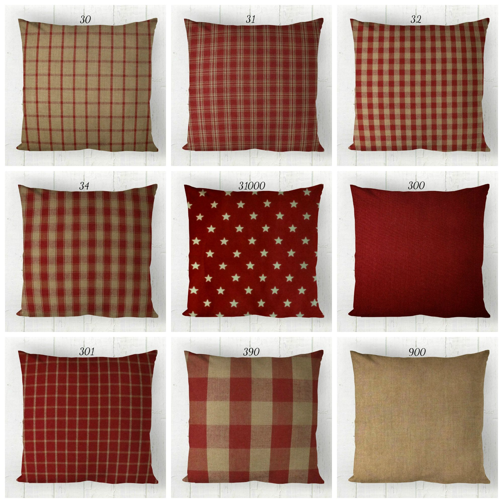 Red Tan Pillow Cover Decorative Farmhouse Throw Pillow Etsy Farmhouse Throw Pillow Pillow Covers Throw Pillow Etsy