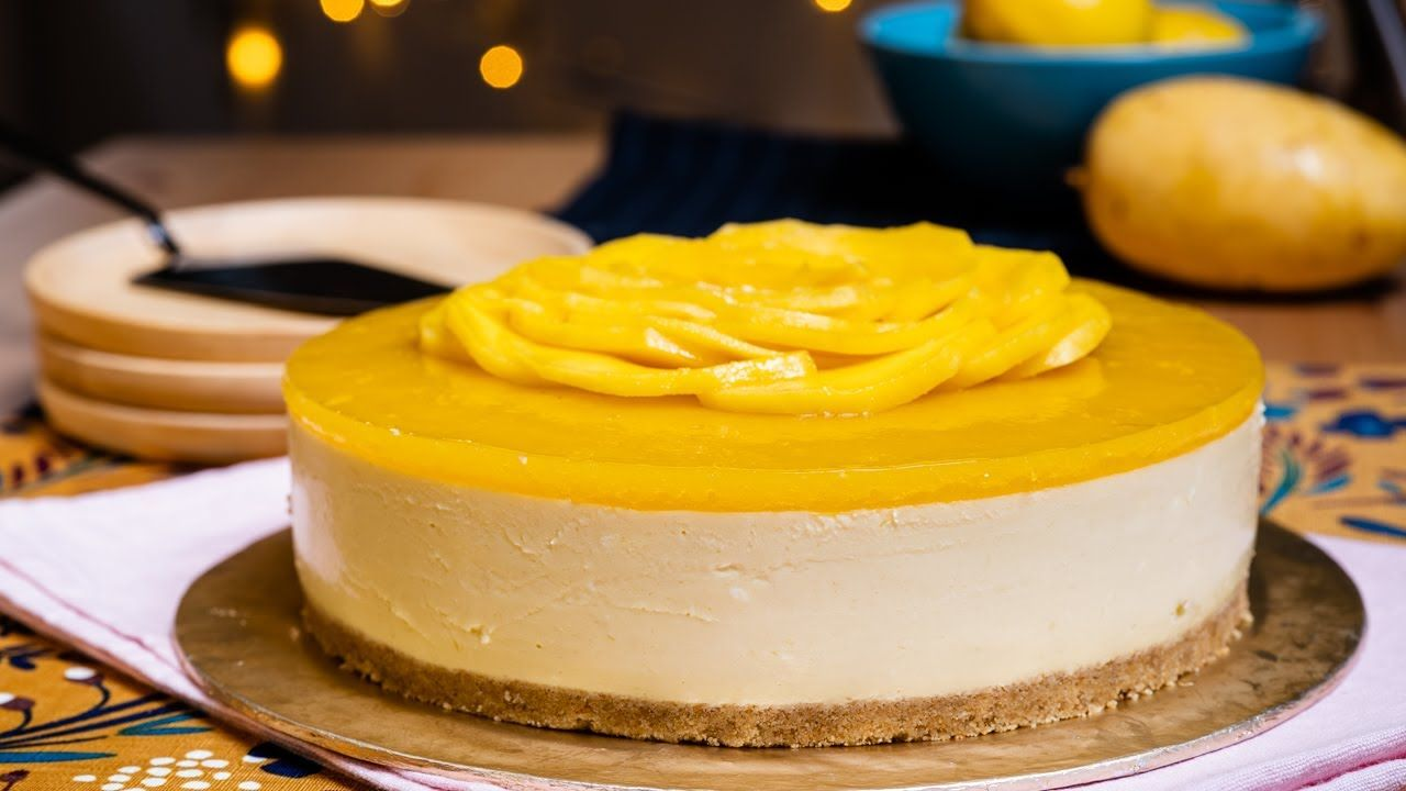 Mango Cheesecake Creamy Macam Aiskrim Tanpa Bakar Tanpa Telur Youtube Kue Keju Resep Kue Memanggang Kue