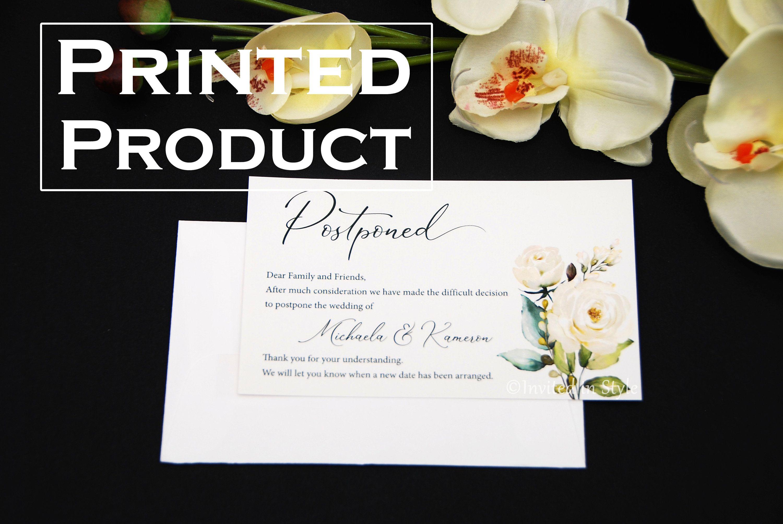change the datepostponementnew date card  printed cards