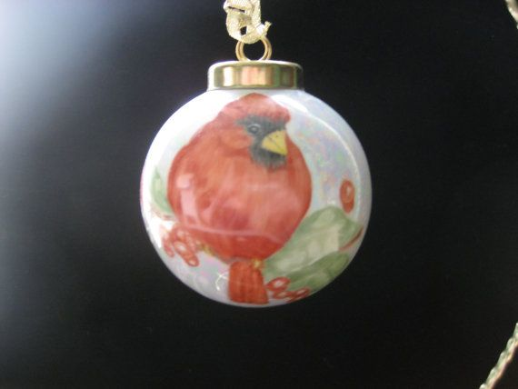 3 Red Bird and Holly Christmas ball ornament by PorcelainChinaArt