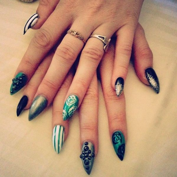 Acrylic nail designs stilletos all about nails pinterest acrylic nail designs prinsesfo Images