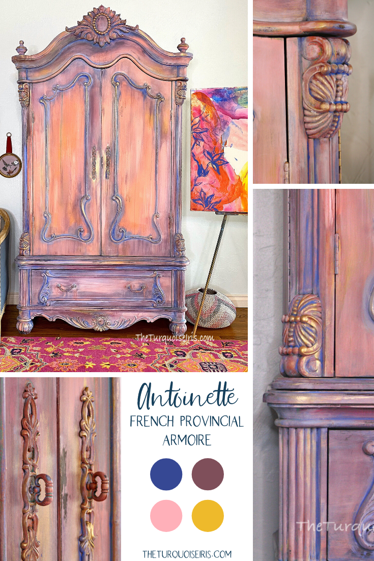 Marie Antoinette style with an American painted furniture makeover! #frenchstyle #art #diy #theturquoiseiris