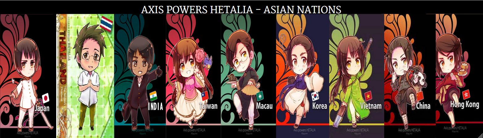 THE AWESOME ASIAN NATIONS!!!!! I couldn't find a Kitayume Event Card for Thailand so I had to substitute.