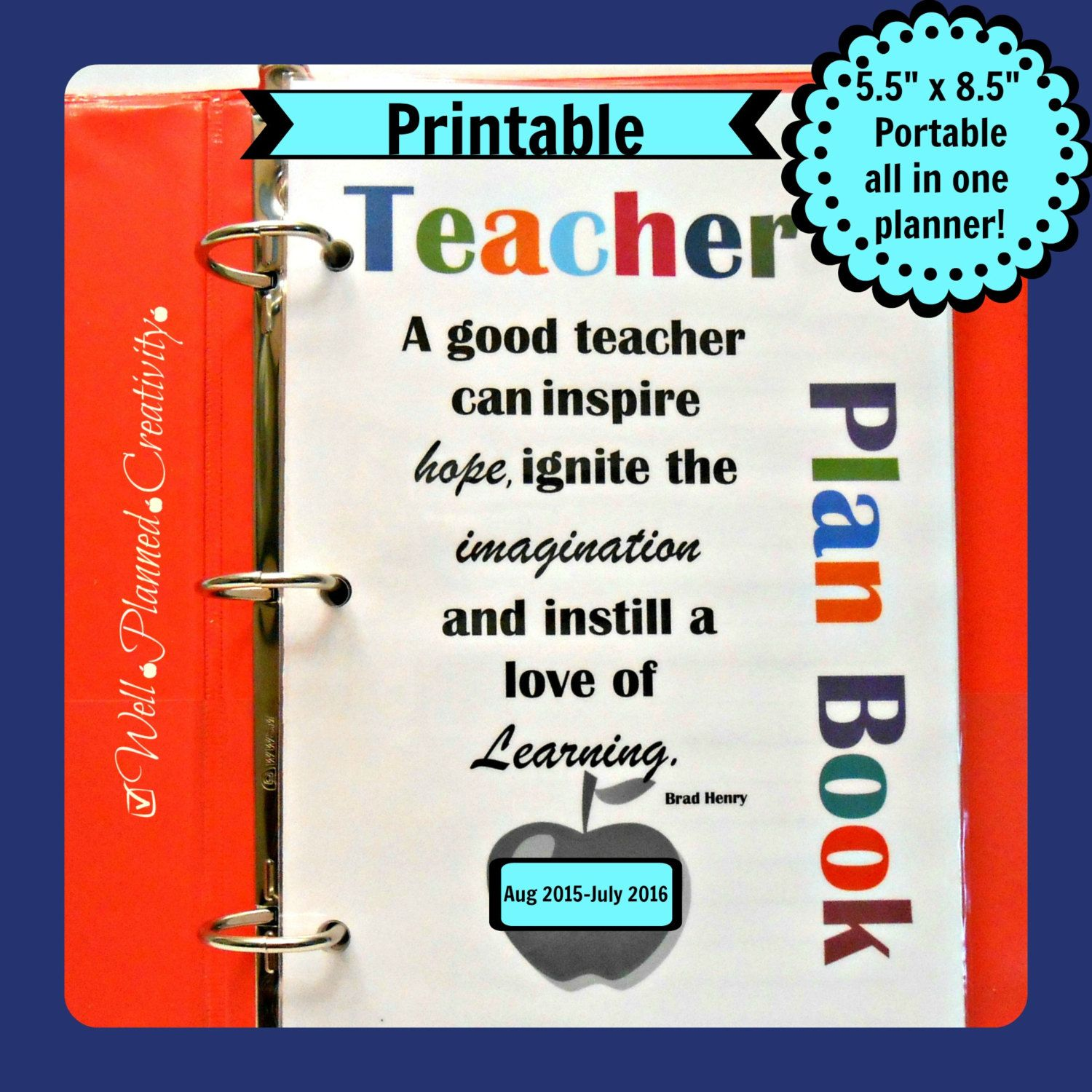 photograph about Teacher Plan Books named Trainer Software E book -(minor sized printable 5.5 x 8.5