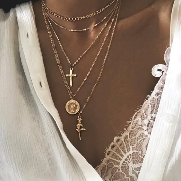 Layers Cross Chokers Necklace Rk Loveitbabe Layered Necklaces Gold Necklace Layered Multi Layer Necklace
