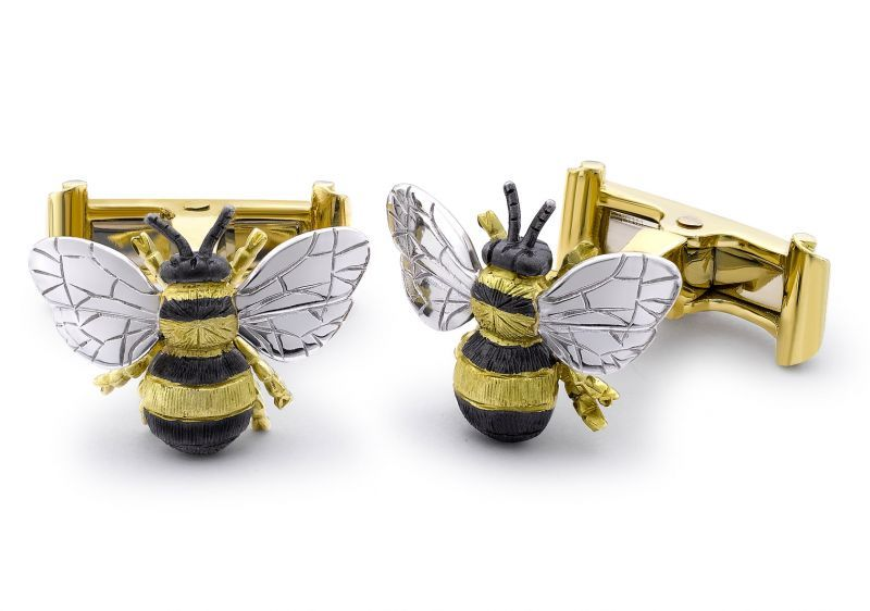 Novelty Men/'s or Boy/'s Insect Jewelry Bumble Bee Cufflinks Vintage Yellow Bees with Blue Wings