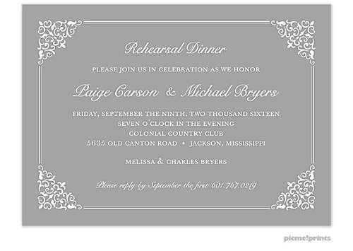 Lace Silver Invitation Rehearsal dinner invitations Dinner