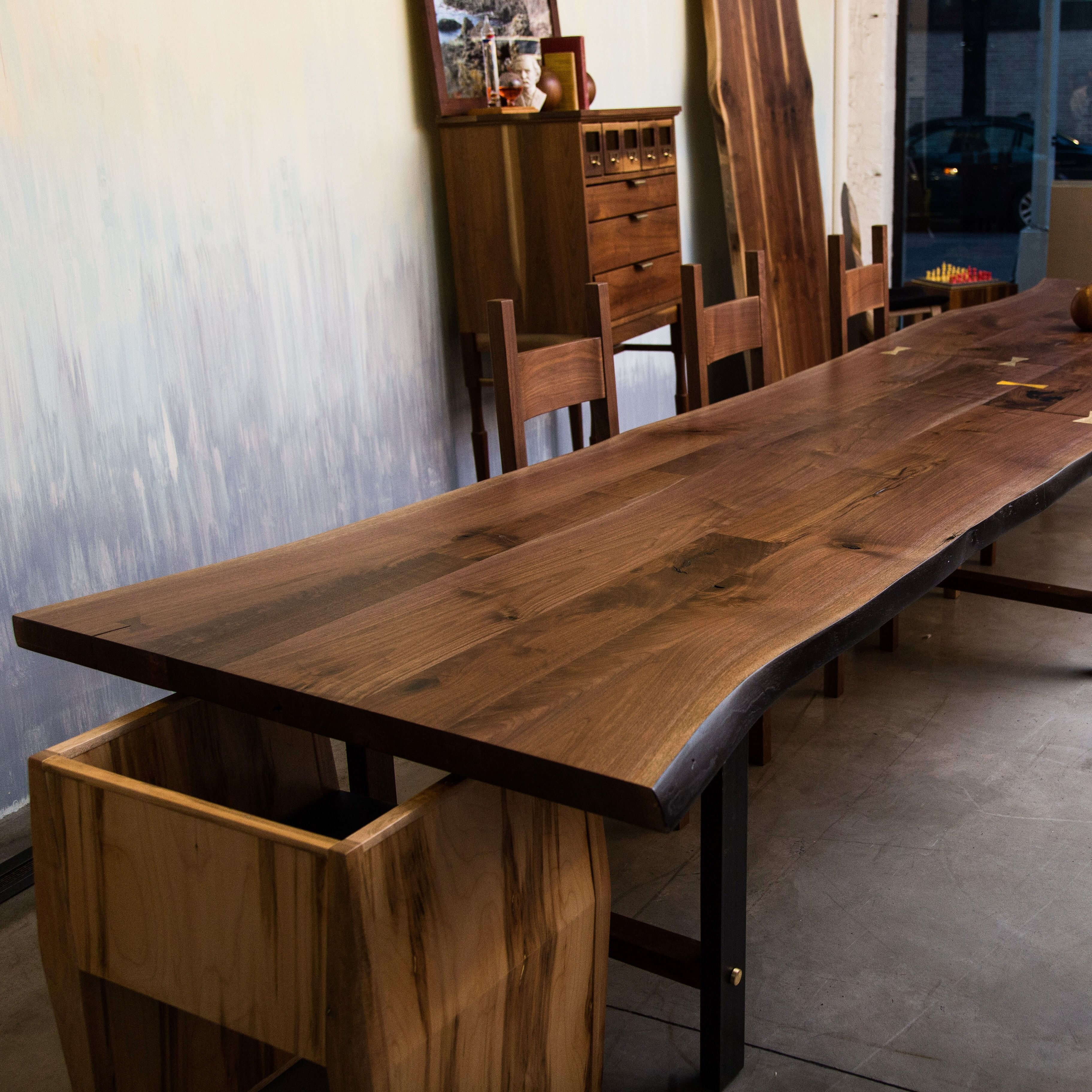 Live Edge Tables With Solid Walnut Maple Oak Slabs Sentient Nyc Live Edge Table Walnut Dining Table Live Edge Furniture