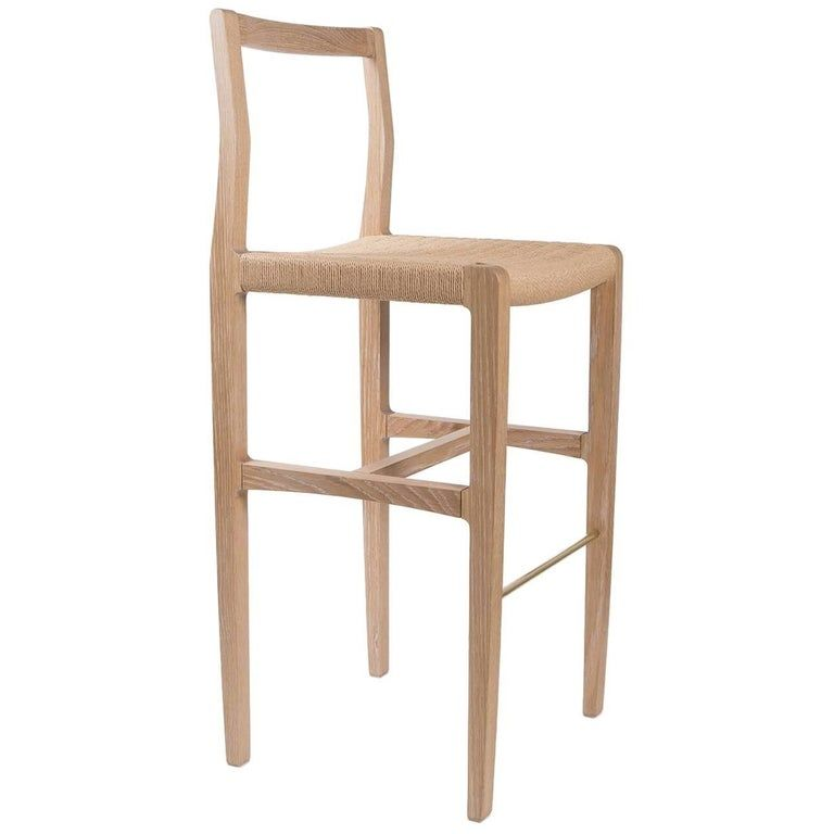 Ml42 Counter Stool In Brown Oiled Oak With Steel Brass Or Copper Footrest Bar Stools Counter Stools Home Decor Kitchen
