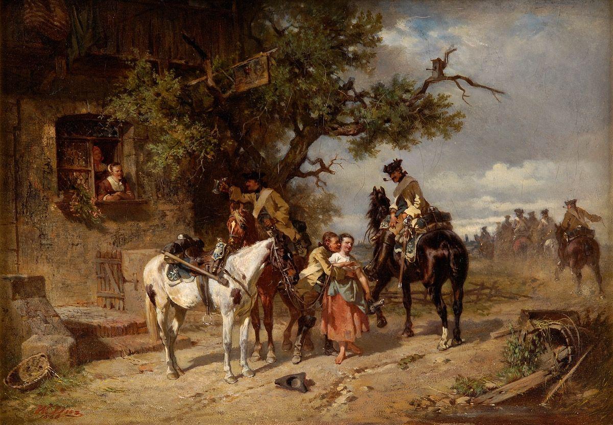 Duesseldorfer Auktionshaus  Diez, Wilhelm von 1839 Bayreuth - 1907 Die schöne Wirtin. Signiert. Öl/Lwd., 27,5 x 41 cm
