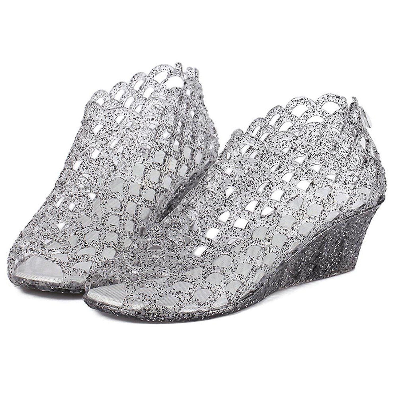 Women's jelly sandals size 10 - Omgard Women S Summer Peep Toe Wedge Heel Jelly Shoes Sandals