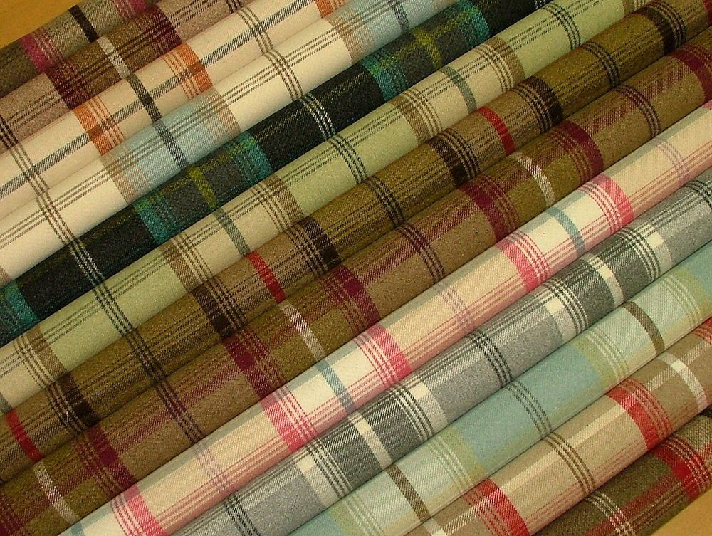 Designer Country Tartan Check Brown Wool Effect Curtain Upholstery Fabric