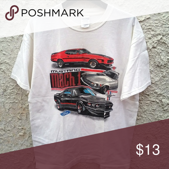 Licensed Ford Mustang Mach 1 V-Neck T-Shirt 50th Anniversary
