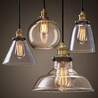 Moderno vintage industrial retro loft vidrio lampara de techo colgante la luz loft industrial - Lamparas industriales de techo ...