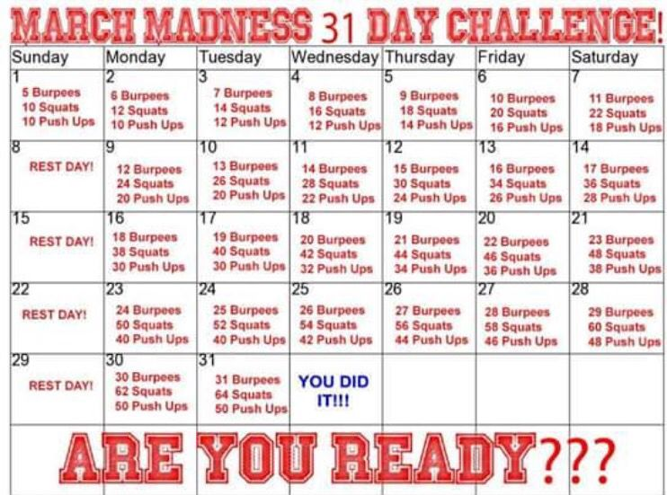 31 Day March Madness Challenge March Fitness Challenge March Madness Fitness Challenge March Workout
