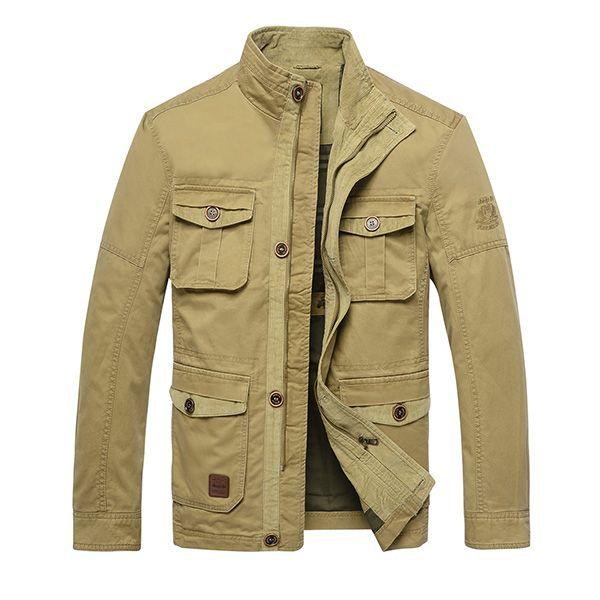 Veste Décontracté en Style Militaire en Couleur Unie avec Multi-poches  Manteau Mince à Col Montant d'Extérieur pour Homme