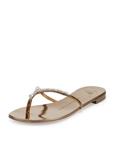 71af2929609167 Metallic Crystal Flat Thong Slide Sandal