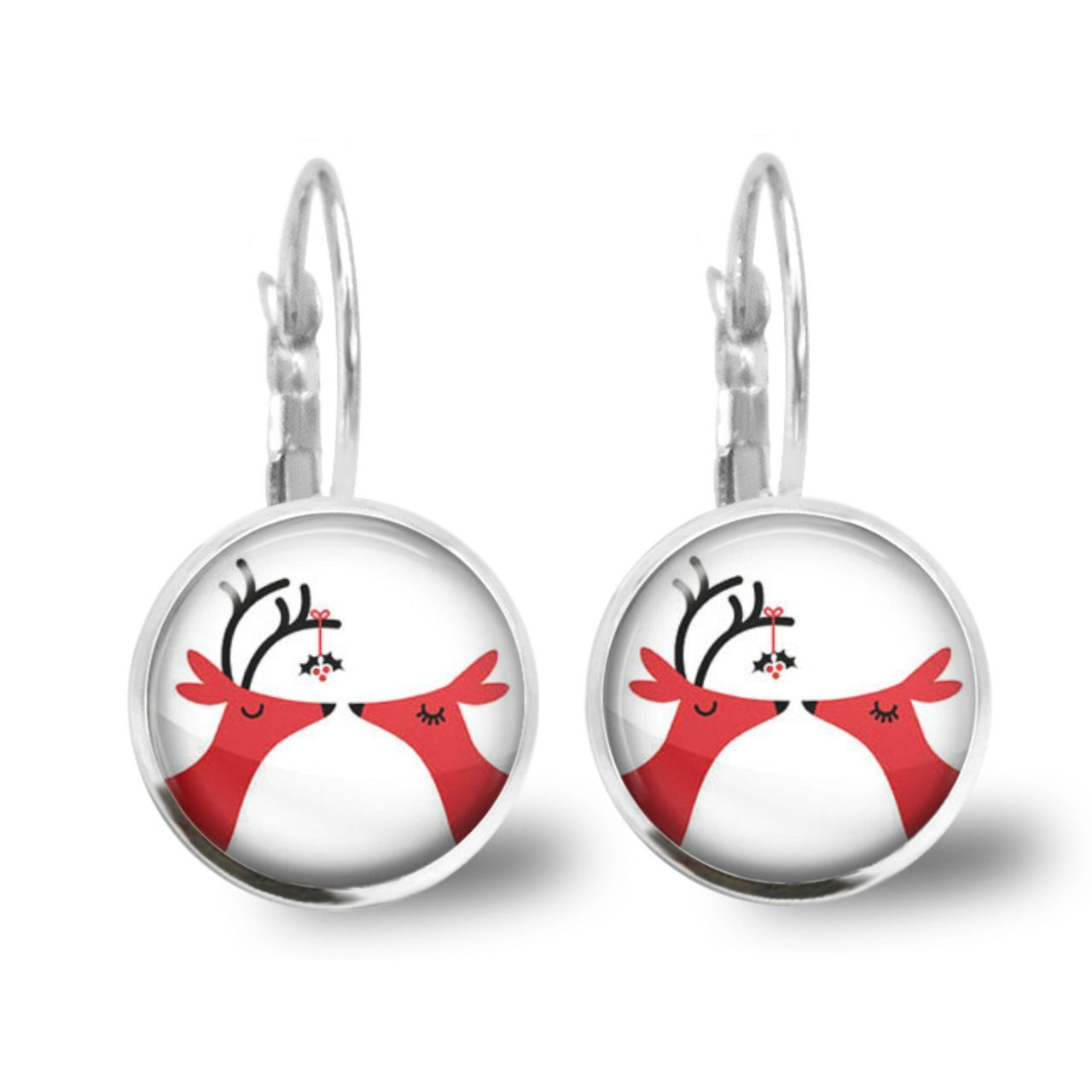 Chatterbox City - Deers kissing under the mistletoe Lever Back Glass Cabochon Earrings, $10.00 (http://www.chatterboxcity.com.au/deers-kissing-under-the-mistletoe-lever-back-glass-cabochon-earrings/)