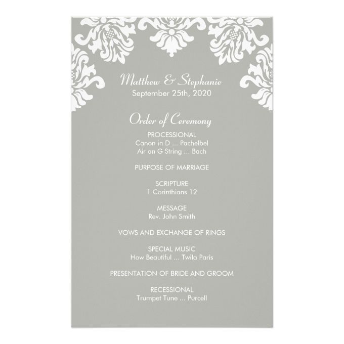 Damask Wedding Program  X  Flyer  Wedding Program