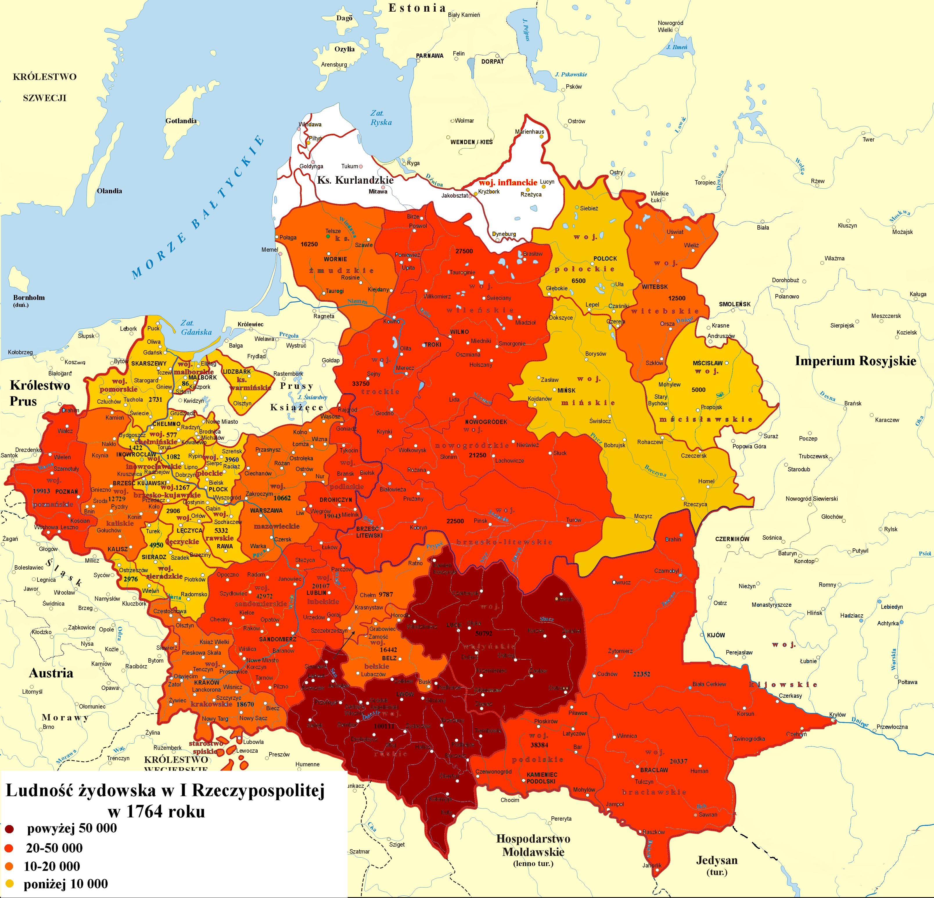 Number Of Jews In Polish Lithuanian Commonwealth Per Voivodeship In 1764 Poland History Historical Maps History