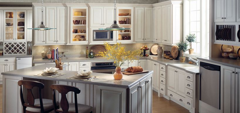 Plaza maple toasted almond glaze by thomasville cabinetry for Almond colored kitchen cabinets