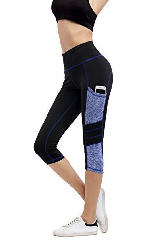 Imido Women s Yoga Capri Pants Sport Tights Workout Running Leggings With  Side Pocket - Shop ea8ddb7953