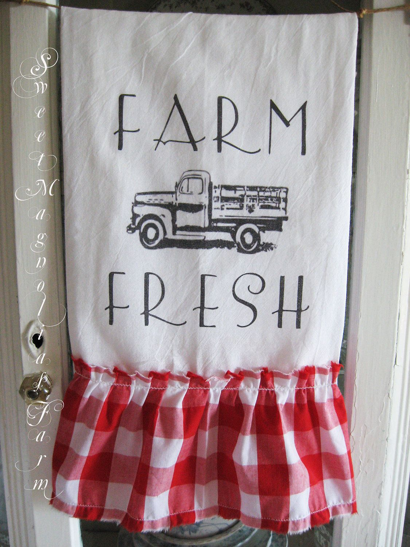 flour sack kitchen towel farm fresh vintage truck red gingham rh pinterest es