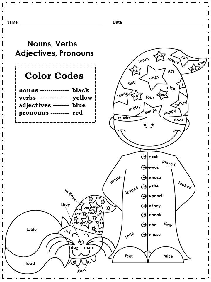 page from Color Codes Math and Literacy No Prep Printables