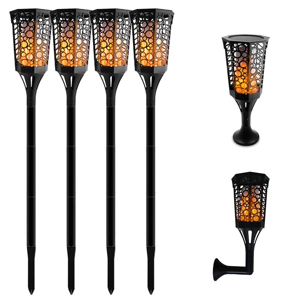 Aluvee Solar Torch Lights 99 Led 3 Mode Dancing Flame Lighting Flickering Torches Waterproof Wireless Outdoo Outdoor Patio Lights Outdoor Lighting Patio Garden