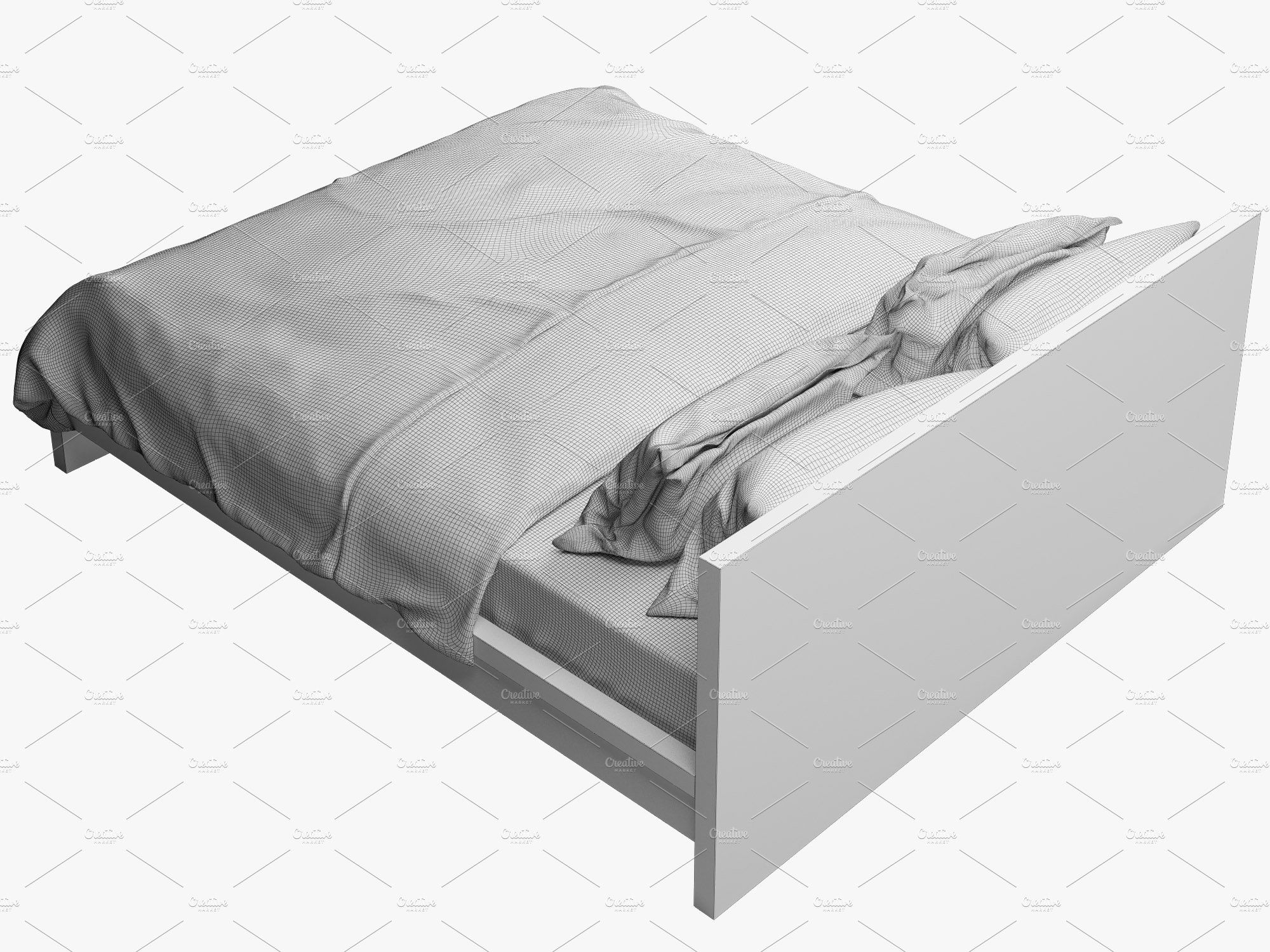 Double Bed 3d Model With Images Bed Double Beds Bed Furniture