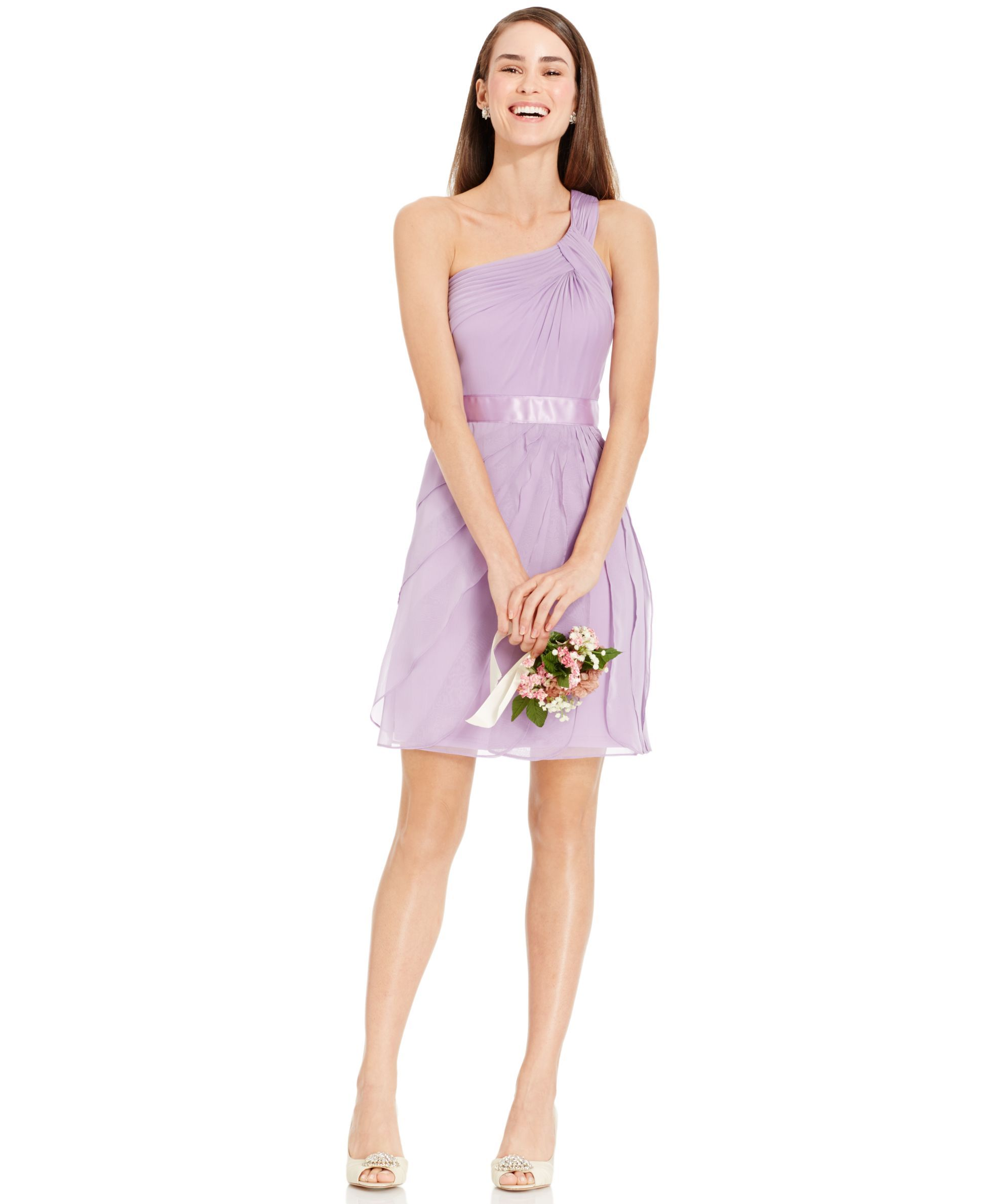 Adrianna Papell One-Shoulder Tiered Chiffon Dress | Dresses ...