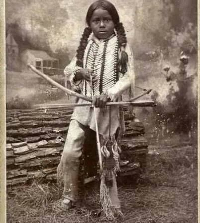 Black Native American probably adopted in to native tribe or captured as slave