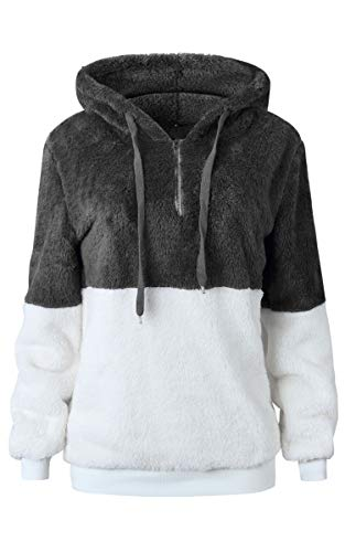 Fleece Jacket for Women Casual Long Sleeve Zipper Sherpa Pullover Hooded Coat Outerwear Tops with Pocket