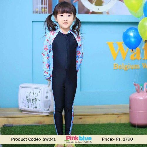 Junior Girls Blue One Piece Long Sleeve Swimsuit Full Body Beach