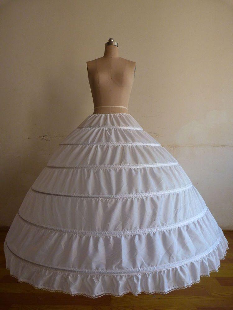 eff1a5bcc7e9 White 6-Hoop Wedding Ball Gown Crinoline Bridal Dress Petticoat Skirt  Underskirt #Petticoat