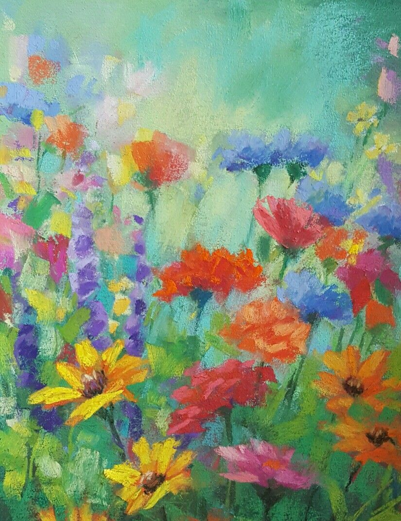 Colourful Flowers by Kath Dunne Pastel painting over Watercolour ...