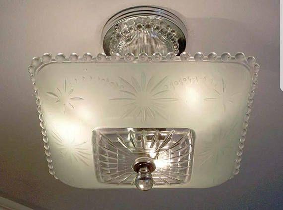 Vintage Jadeite Light Fixture Chandelier