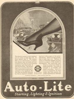1925 Electric Auto Lite Toledo Ohio-Sexy Leg-Automobile/Car Starting Lighting Ad MyAdStore.net