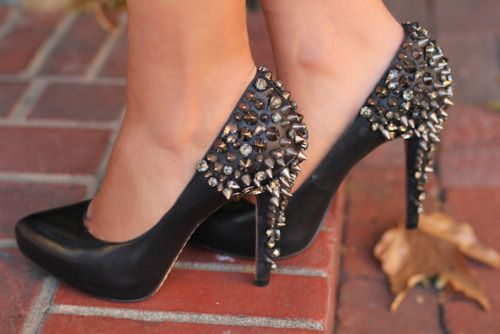 Spiked and studded heels