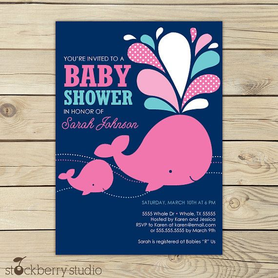 Girl Whale Baby Shower Invitation Printable   Pink Whale Baby Shower   Pink  And Navy Blue   Under The Sea Party   Nautical Baby Shower