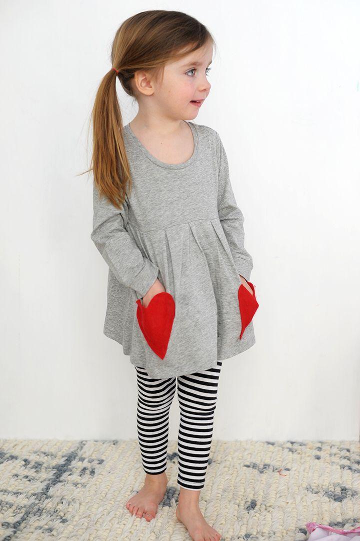 Esharing Cute Kids Baby Girls Short Sleeve Heart Dot Printed Striped Dress Outfits